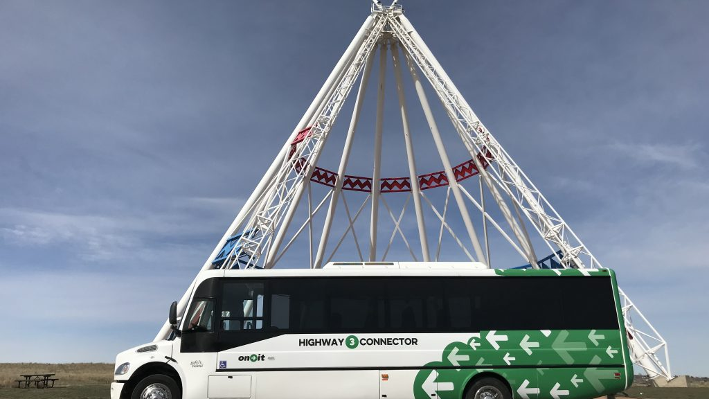 Highway 3 Connector bus at Medicine Hat Teepee